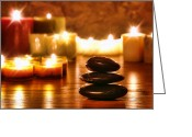 Reflection Greeting Cards - Stones Cairn and Candles Greeting Card by Olivier Le Queinec