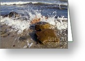 Spume Greeting Cards - Stones on the beach Greeting Card by Heiko Koehrer-Wagner