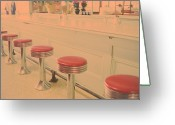 Showcase Greeting Cards - Stools At Bar Counter Greeting Card by Carol Whaley Addassi