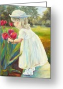 White Dress Greeting Cards - Stop and Smell the Flowers Greeting Card by Chris Brandley