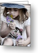 Little Boy Photo Greeting Cards - Stop and Smell the Wildflowers Greeting Card by Ken Smith