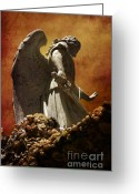 Angel Statue Greeting Cards - STOP in the name of God Greeting Card by Susanne Van Hulst