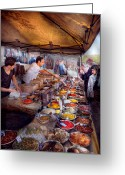 Barista Greeting Cards - Storefront - The open air Tea and Spice market  Greeting Card by Mike Savad