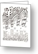 Storm Drawings Greeting Cards - Storm Above the City Greeting Card by Paula Dickerhoff