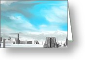 Storm Digital Art Greeting Cards - Storm Approachs Strange City Greeting Card by David Lane
