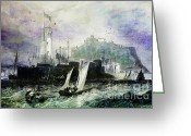 Lianne_schneider Boats Fine Art Print Greeting Cards - Storm at Scarborough Greeting Card by Lianne Schneider