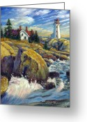 Lighthouse Greeting Cards - Storm Blowing In Greeting Card by John Lautermilch
