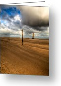Lighthouse Greeting Cards - Storm Brewing Greeting Card by Adrian Evans