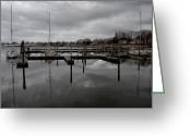 Grey Clouds Greeting Cards - Storm Brewing in the Early Season Greeting Card by Karol  Livote