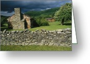 Log Cabins Photo Greeting Cards - Storm Clouds Form Above Log Buildings Greeting Card by Raymond Gehman