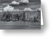 Cumulus Cloud Greeting Cards - Storm Clouds Over New York City I Greeting Card by Clarence Holmes