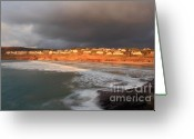 Kernow Greeting Cards - Storm Clouds Over Polzeath Greeting Card by Carl Whitfield