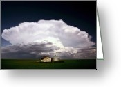 Storm Digital Art Greeting Cards - Storm clouds over Saskatchewan granaries Greeting Card by Mark Duffy