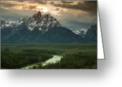 River. Clouds Greeting Cards - Storm Clouds over the Tetons Greeting Card by Andrew Soundarajan