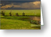 Grasslands Greeting Cards - Storm Crossing Prairie 1 Greeting Card by Robert Frederick