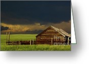 Grasslands Greeting Cards - Storm Crossing Prairie 2 Greeting Card by Robert Frederick