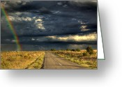 Rural Road Greeting Cards - Storm Horizon Greeting Card by Mark Richards