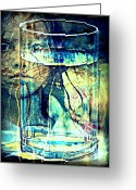 Unusual Lightning Mixed Media Greeting Cards - Storm In A Glass Of Water Greeting Card by Paulo Zerbato