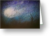 Snowy Night Greeting Cards - Storm  Greeting Card by Irina Astley