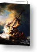 Storm Prints Painting Greeting Cards - Storm On The Sea Of Galilee Greeting Card by Pg Reproductions