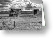 Dilapidated Greeting Cards - Storm Over Big Sky Montana Greeting Card by Sandra Bronstein