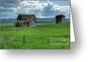 Dilapidated Greeting Cards - Storm Over Big Sky  Greeting Card by Sandra Bronstein