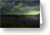 Storm Prints Greeting Cards - Storm over Bluebonnets Easter Sunday Greeting Card by Sue Fulton