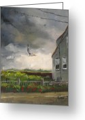 Stormy Skies Greeting Cards - Storm Over Hull Jr Greeting Card by Laura Lee Zanghetti
