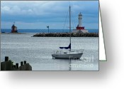 Lighthouse Greeting Cards - Storm Over Mackinac Greeting Card by Pamela Baker