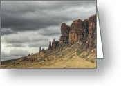 The Supes Greeting Cards - Storm over the Superstitions  Greeting Card by Saija  Lehtonen
