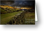 Gloomy Greeting Cards - Storm Over Windermere Greeting Card by Meirion Matthias