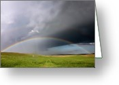 Storm Cloud Greeting Cards - Storm Rainbow Prairie Greeting Card by Ryan McGinnis