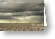Prairie Sky Art Greeting Cards - Storm Ray Desert Greeting Card by Andrea Hazel Ihlefeld