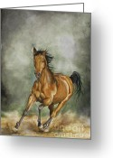 Wild Horse Painting Greeting Cards - Storm Runner Greeting Card by Nonie Wideman