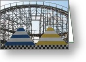 Wooden Coaster Greeting Cards - Storm Track Greeting Card by Kelly Mezzapelle