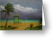 Tropical Beach Painting Greeting Cards - Storm Watchers Greeting Card by Gordon Beck
