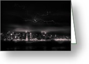 "\""lightning Strike\\\"" Greeting Cards - Storming into the Night Greeting Card by David Hahn"
