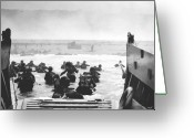 Military Pictures Greeting Cards - Storming The Beach On D-Day  Greeting Card by War Is Hell Store