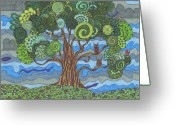 Storm Drawings Greeting Cards - Storms A Brewin Greeting Card by Pamela Schiermeyer