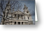 Building Detail Greeting Cards - Storms over St Pauls Greeting Card by Joan Carroll
