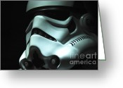 Uniform Greeting Cards - Stormtrooper Helmet Greeting Card by Micah May