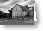 Black And White Barn Greeting Cards - Stormy Barn Greeting Card by Perry Webster