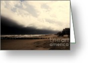 Grey Clouds Greeting Cards - Stormy Beach at the Coast of South Carolina Greeting Card by Susanne Van Hulst