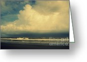 Grey Clouds Greeting Cards - Stormy Clouds at Folly Beach SC Greeting Card by Susanne Van Hulst