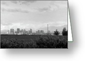 Raining Greeting Cards - Stormy Day Calgary CityScape Greeting Card by Lisa Knechtel