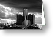 Renaissance Center Greeting Cards - Stormy Detroit GM Building - Black and White Greeting Card by Alanna Pfeffer