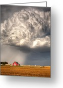 Rain Storms Greeting Cards - Stormy Homestead Greeting Card by Thomas Zimmerman