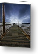 Threatening Greeting Cards - Stormy Jetty Greeting Card by Meirion Matthias