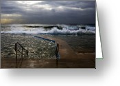 Beach Greeting Cards - Stormy morning at Collaroy Greeting Card by Sheila Smart