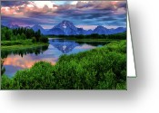 Storm Cloud Greeting Cards - Stormy Morning In Jackson Hole Greeting Card by Jeff R Clow